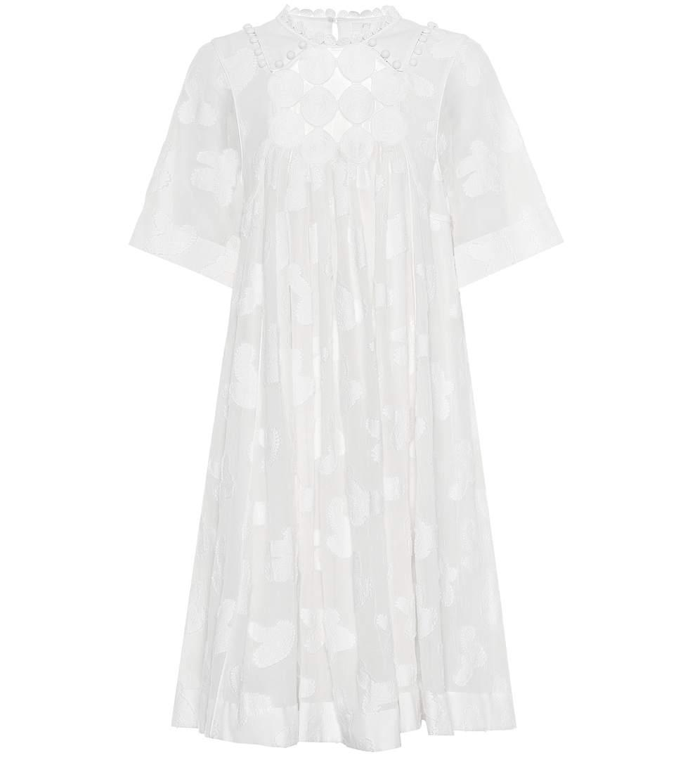 ChloÉ Cotton And Silk Dress In White