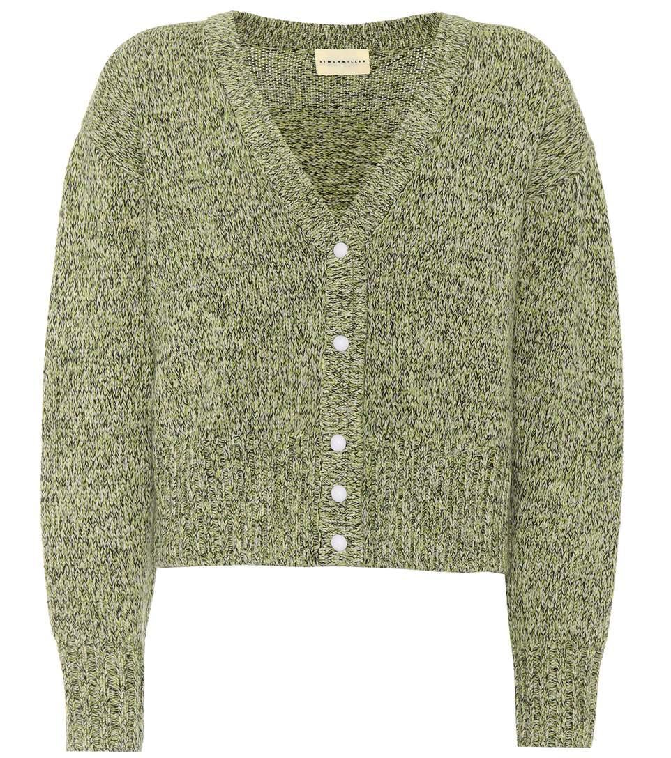 Simon Miller Izee Wool Cardigan In Green