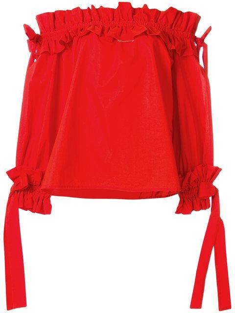Sara Roka Ruched Bardot Top In Red