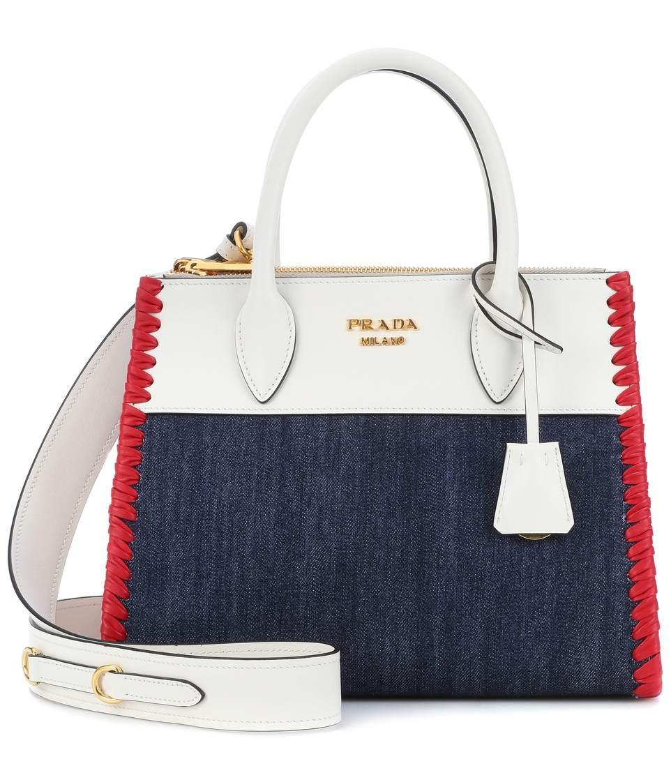 4877aaf13763 Prada Paradigme Leather And Denim Handbag In White   ModeSens