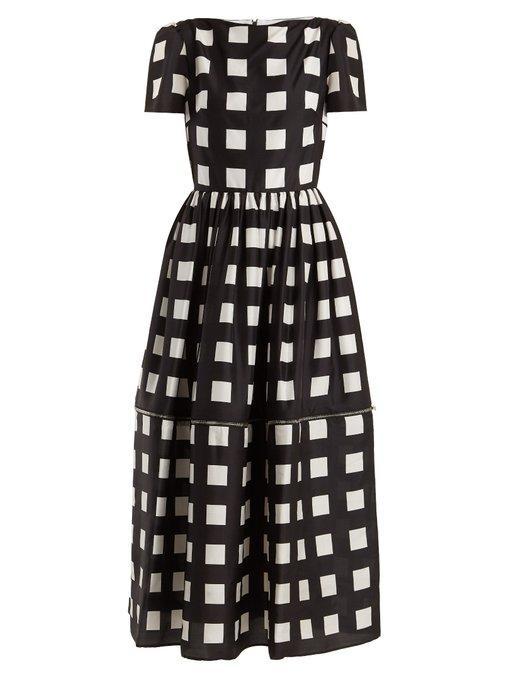 698261e1dddf Christopher Kane Zip-Hem Square-Print Silk Dress In Black White ...