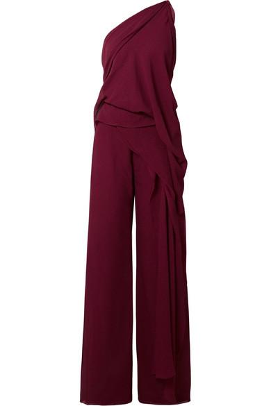 67b6e5682e3e Roland Mouret Nettleton One-Shoulder Draped Silk Jumpsuit With Cascade Side  Panel In Burgundy