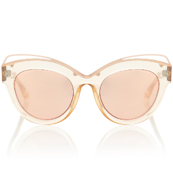 4bfe290d55c0 Le Specs Halogazer Translucent Mirrored Cat-Eye Sunglasses In Pink ...