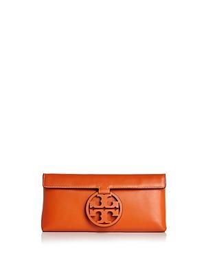 1b7abbb11437 Tory Burch Miller Leather Clutch - Orange In Brilliant Orange Gold ...