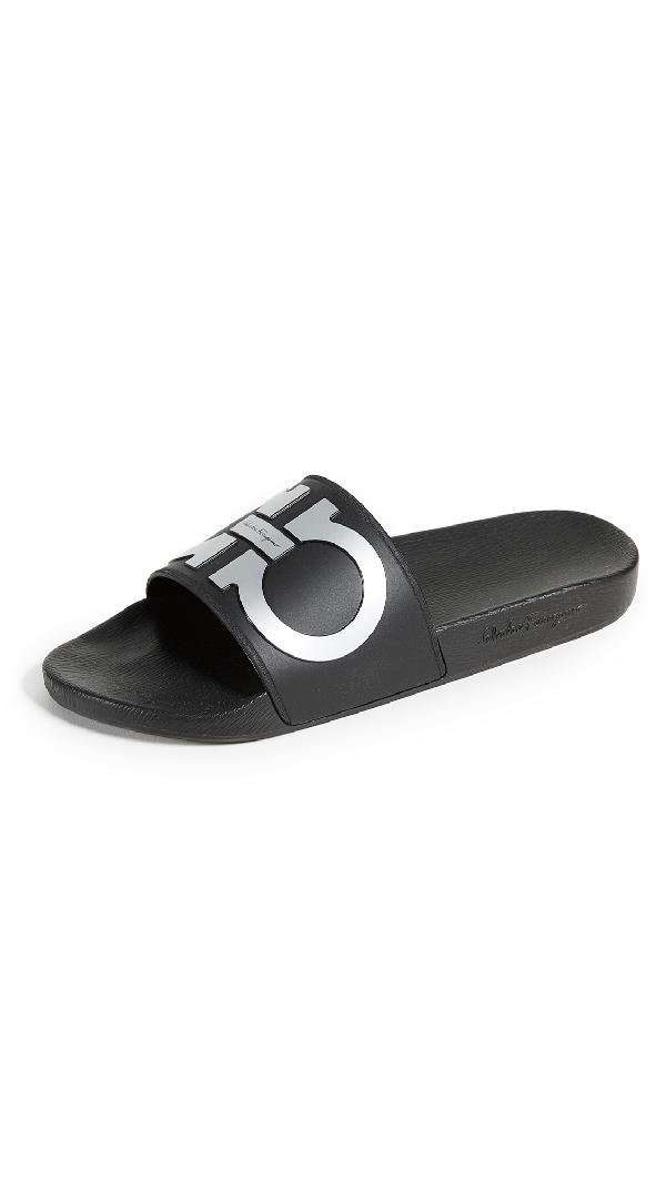 9e414ad134bea Salvatore Ferragamo Men's Groove 2 Original Double Gancini Slide Sandals In  Black/Silver