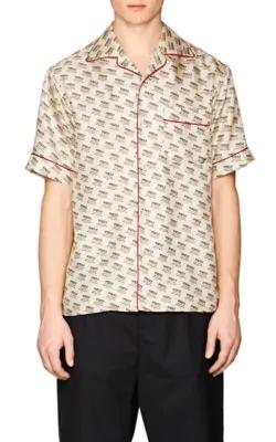 9797693175b Gucci Invitation-Print Silk Twill Shirt - Ivorybone