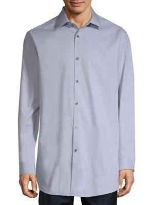 Theory Dobby Cotton Shirt In Winter Sky