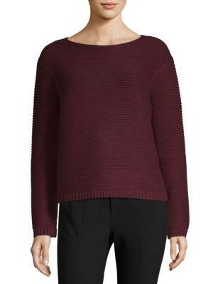 Lafayette 148 Link-Stitch Cashmere Sweater In Cabernet