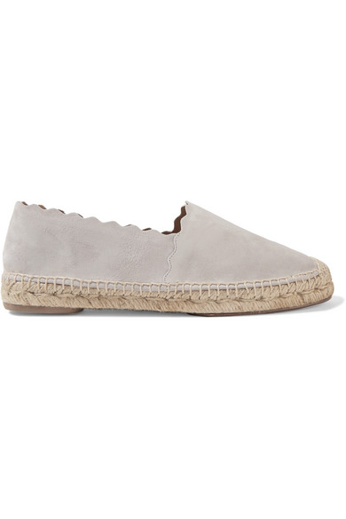 ChloÉ Lauren Flat Scalloped Espadrille, Elephant Gray