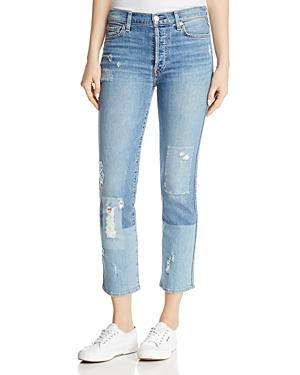 7 For All Mankind Edie Distressed Bleached Denim Straight-Leg Jeans In Medium Blue