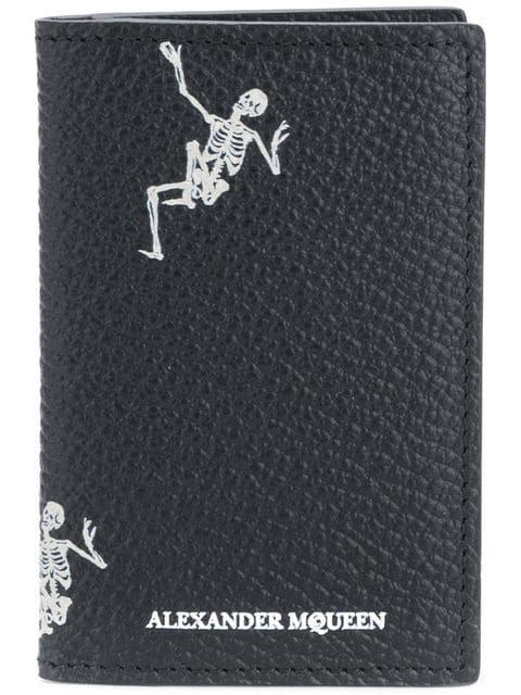 Alexander Mcqueen Dancing Skeleton Card Holder In Black