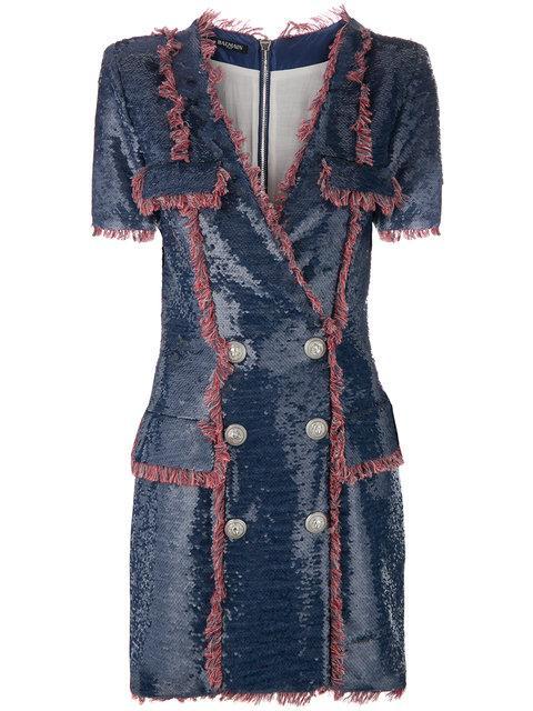 Balmain Sequin Fringe Dress In Blue