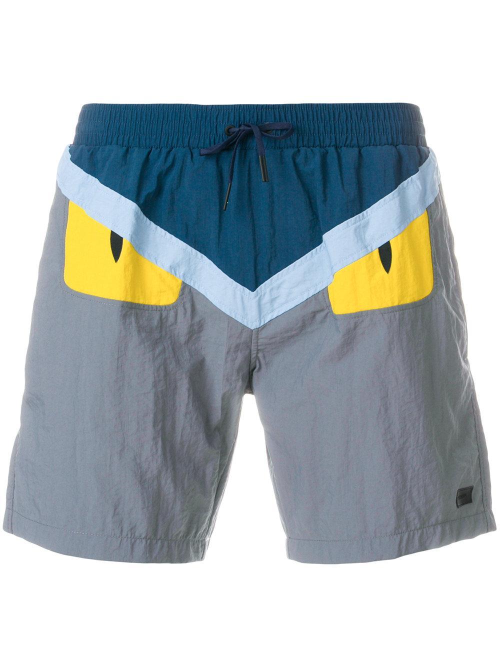 d2a3074476 Fendi Bag Bug Motif Swim Shorts - Blue   ModeSens