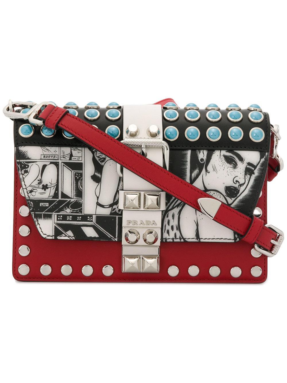 6eea4732d07f Prada Red Cartoon Print Leather Cross Body Bag | ModeSens