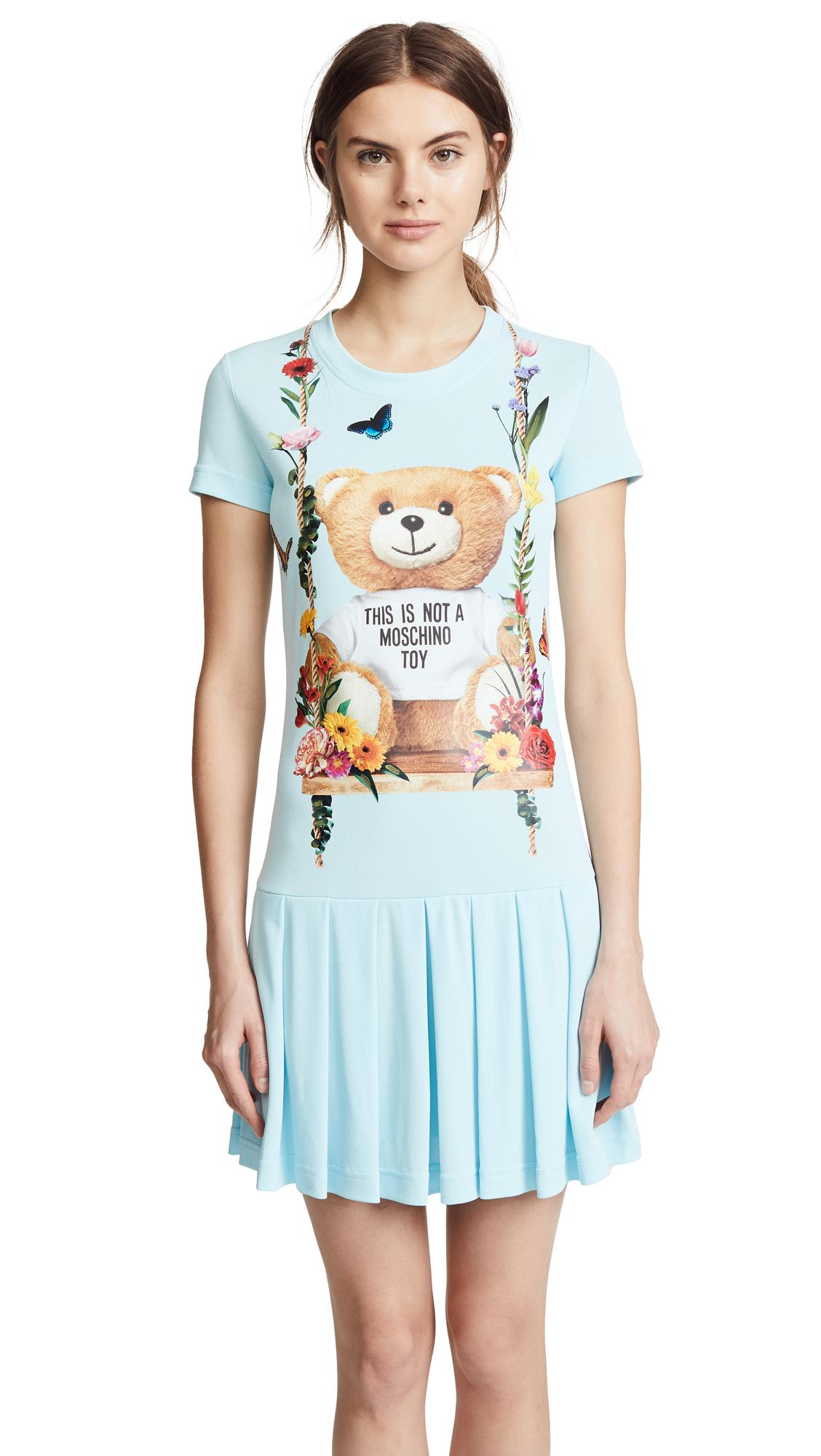 14eec5e877c Moschino Bear Tee Dress In Blue Multi
