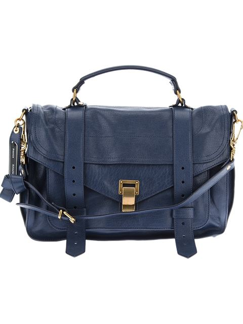 Proenza Schouler Ps1 Tiny Lux Midnight Leather Satchel Bag In Dark Blue