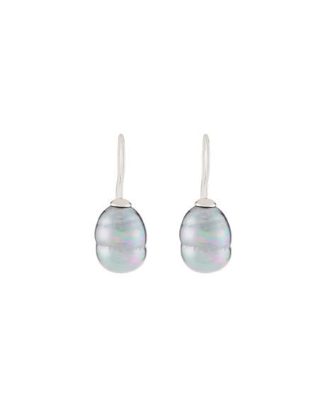Majorica 12Mm Baroque Pearly Drop Earrings In Grey