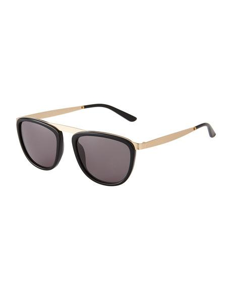 Smoke X Mirrors Pusherman Acetate/Stainless Steel Square Sunglasses In Black/Gold