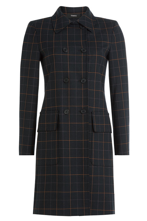 Theory Checked Coat With Virgin Wool In Blue
