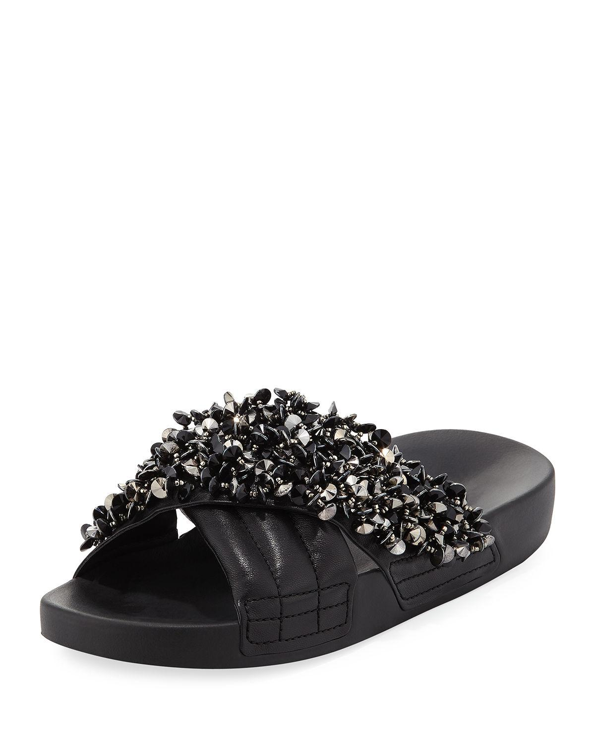 aeab1cbbd LOGAN EMBELLISHED POOL SANDAL. EXCLUSIVELY AT NEIMAN MARCUS (Black only) Tory  Burch quilted leather ...