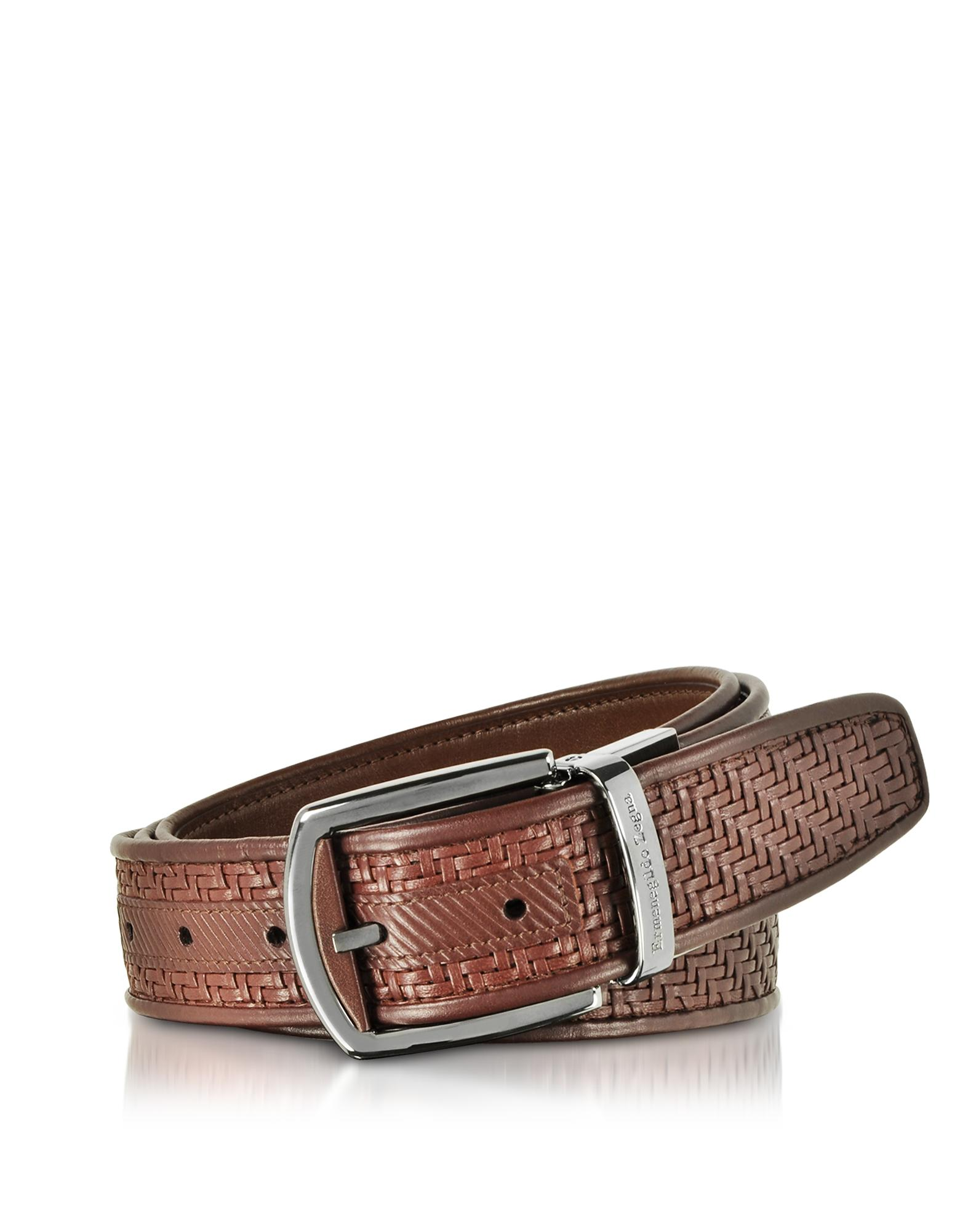 Ermenegildo Zegna Pelle Tessuta Vicuna Reversible Belt In Brown