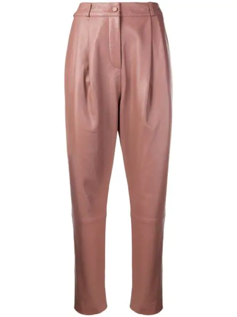 Zimmermann Tempest Leather Tuck Pant In Pink
