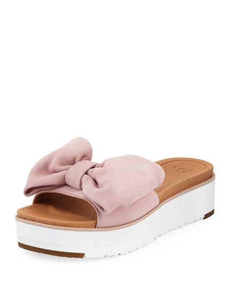 fa7d67d57a9 Ugg Joan Platform Bow Sandal In Seashell Pink Suede