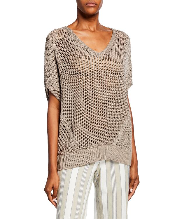 37ecebaedd15 Lafayette 148 Mixed Stitch Cotton   Silk Sweater In Gray
