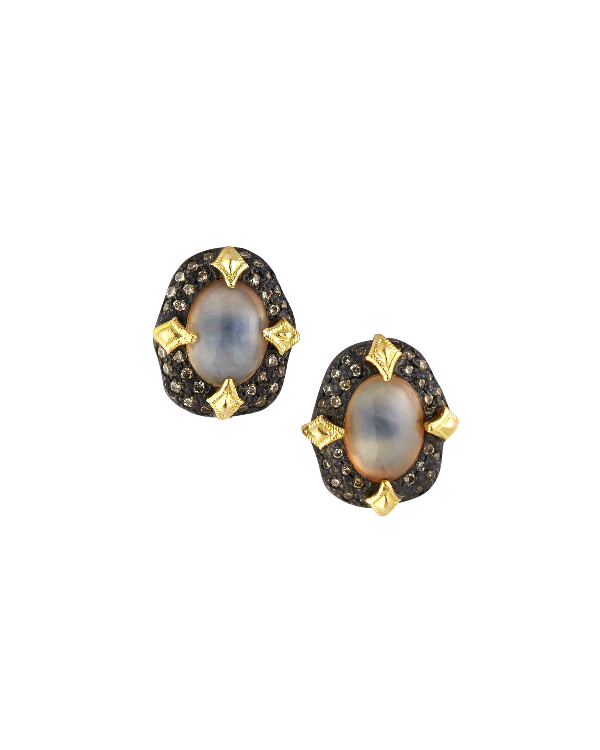 Armenta 18K Yellow Gold & Blackened Sterling Silver Old World Aquaprase & Champagne Diamond Bezel Stud Earri In White
