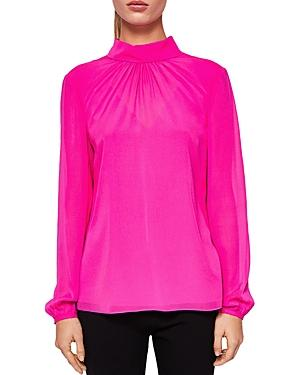 6f29cac0851db8 Ted Baker Ruched Silk High Neck Blouse In Bright Pink