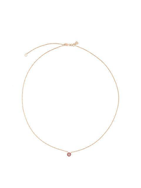 fa34cb41ee22d 14Kt Rose Gold Tiny Ruby Evil Eye Disc Diamond Necklace