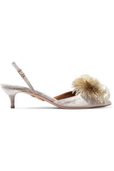 Aquazzura Powder Puff Pompom-embellished Velvet Slingback Pumps In Light Gray
