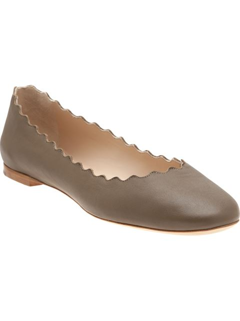 Chloé Lauren Scalloped Metallic Leather Flats In The Army-green Leather Shoes Have A Round Toe And A Scalloped Edge.