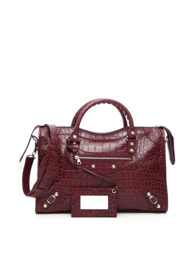 5e0031b81d2 Balenciaga Crocodile Embossed Giant 12 City Bag In Violet Prune|Viola