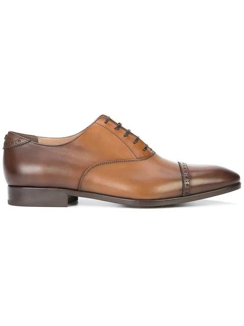 Salvatore Ferragamo Men's Boston Leather Brogue Cap-Toe Oxfords In Brown