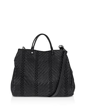 Kooba Anguilla Leather Satchel In Black/Gunmetal