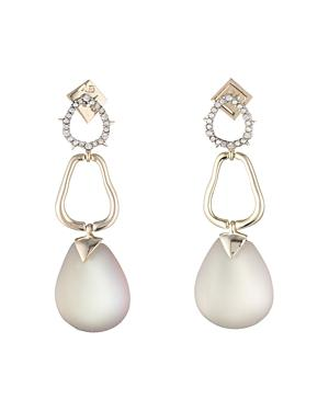 Alexis Bittar Crystal Lucite Drop Earrings In Gray/Gold
