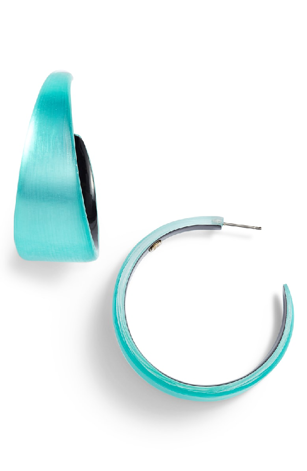 Alexis Bittar Chunky Lucite Hoop Earrings In Mint Green