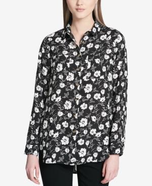 Calvin Klein Printed Tunic In Dark Gray