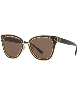 f696c047dc Tory Burch Enamel San Ray 53Mm Sunglasses - Black  Gold In Black   Brown