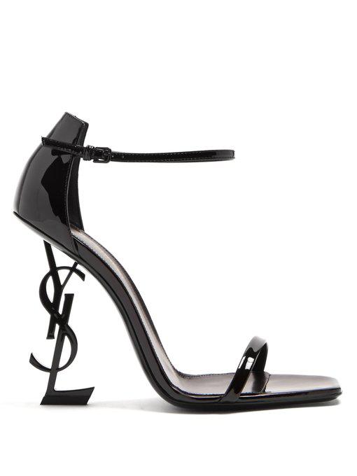 43cfa44ae Saint Laurent Opyum Logo-Heel Patent-Leather Sandals In Black | ModeSens