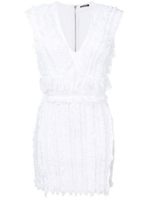 Balmain Fringed Mini Dress In White