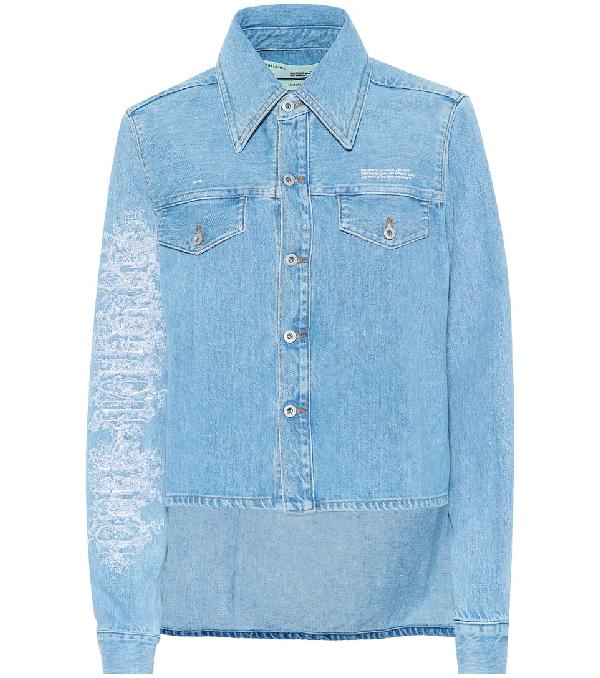 Off-White Embroidered Denim Jacket In Light Blue