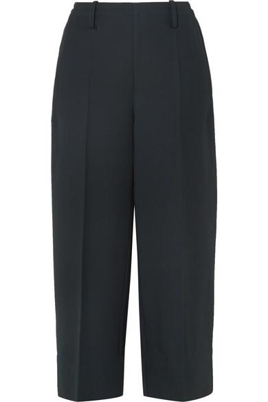 Lemaire Cropped Wool-Gabardine Wide-Leg Pants In Midnight Blue