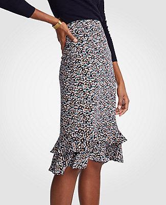 0058781d1d8cb2 Ann Taylor Petite Floral Ruffle Pencil Skirt In Night Sky | ModeSens