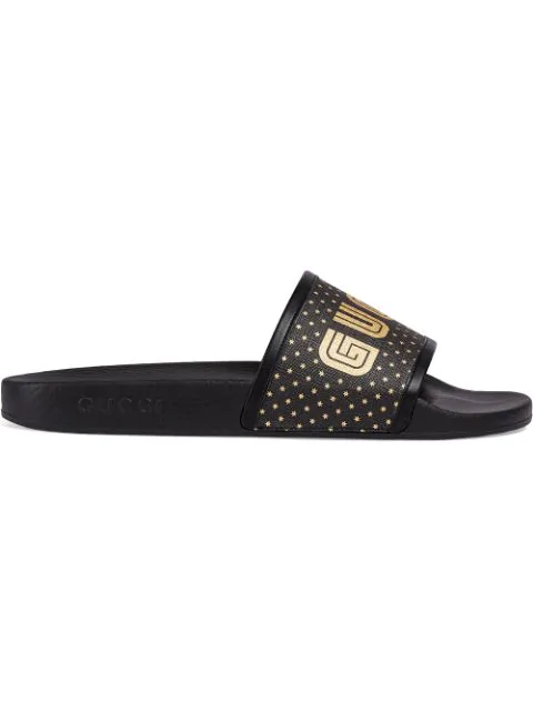 Gucci Pursuit Guccy Stars Rubber Slide Sandals In 1085 Nero