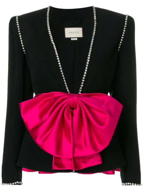 Gucci Marocain Evening Jacket With Bow Detail And Crystal Trim In Black