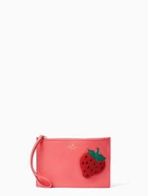 Kate Spade Strawberry Mini Leather Wristlet In Watermelon