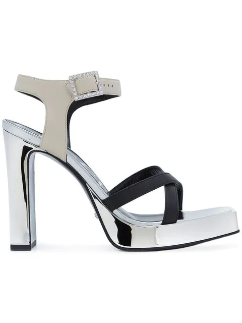 Gucci Crystal-Buckle Leather Platform Sandals - Silver In 1074