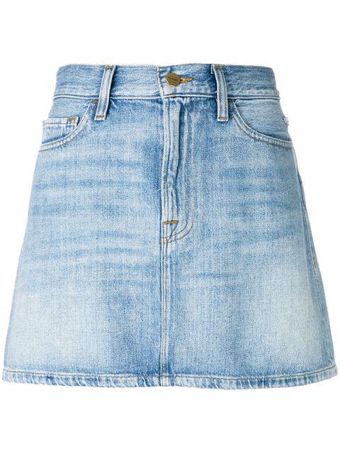 1fc4dd47e Frame Le Mini Stud-Embellished Denim Skirt In Mid Denim   ModeSens
